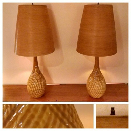 Pair of Lotte Lamps in Yellow