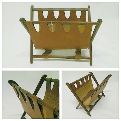 Teak and Leather Magazine Rack