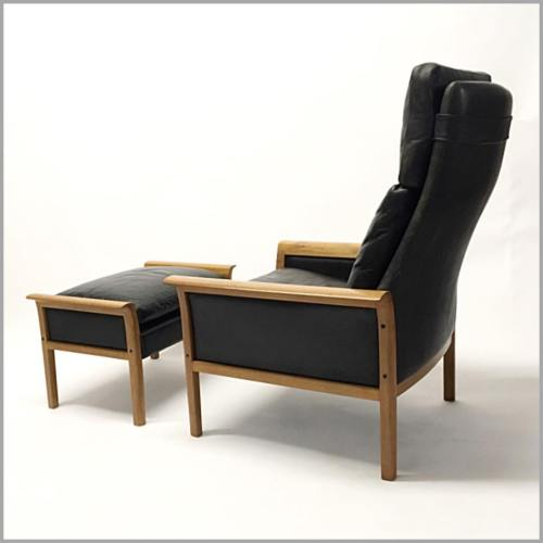 Teak and Leather Ottoman and Chair by Knut Saete for Vatne