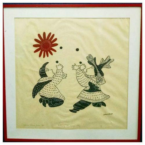 1972 Inuit Stone Cut Titled 'Worshiping the Rising Sun