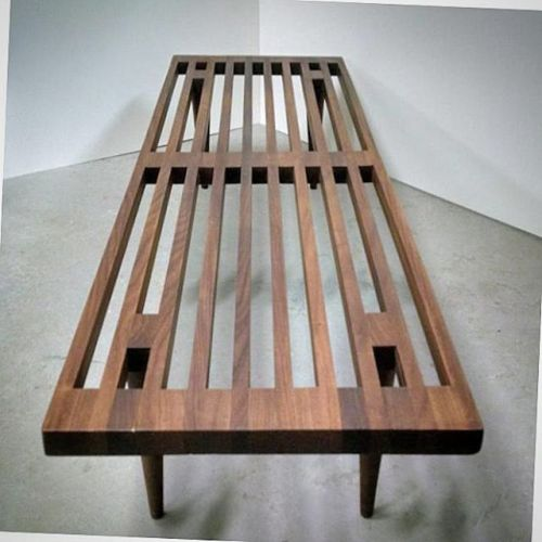 Solid Afromosia Slat Bench