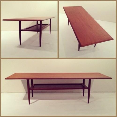 Long Teak Coffee Table w/ Leather Shelf