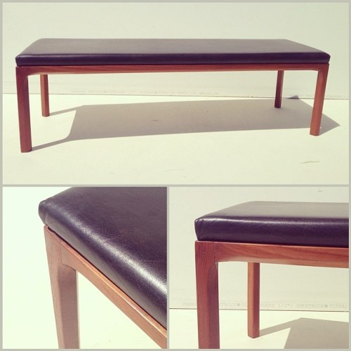 Leather and Teak Bench by Kai Kristiansen