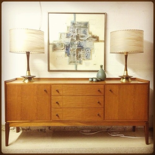 English Cherry Sideboard with Table Lamps and Canvas
