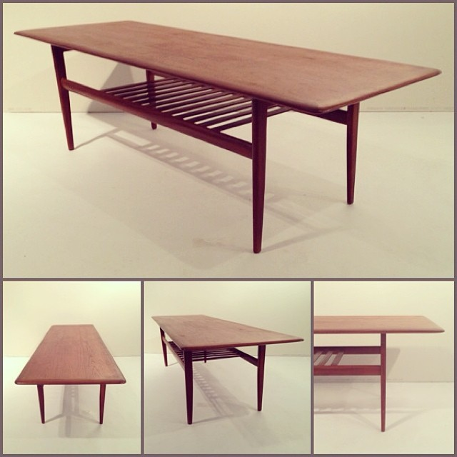 Founddesign 187 187 Teak Coffee Table W Slat Shelf