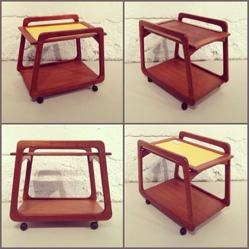 Yellow and Teak Bar Cart