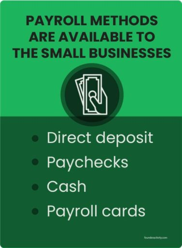 Payroll methods are available to the small businesses Direct deposit Paychecks Cash  Payroll cards infographic How to Pay Employees in a Small Business