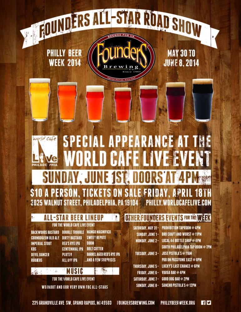 Founders AllStar Lineup at Philly Beer Week 2014