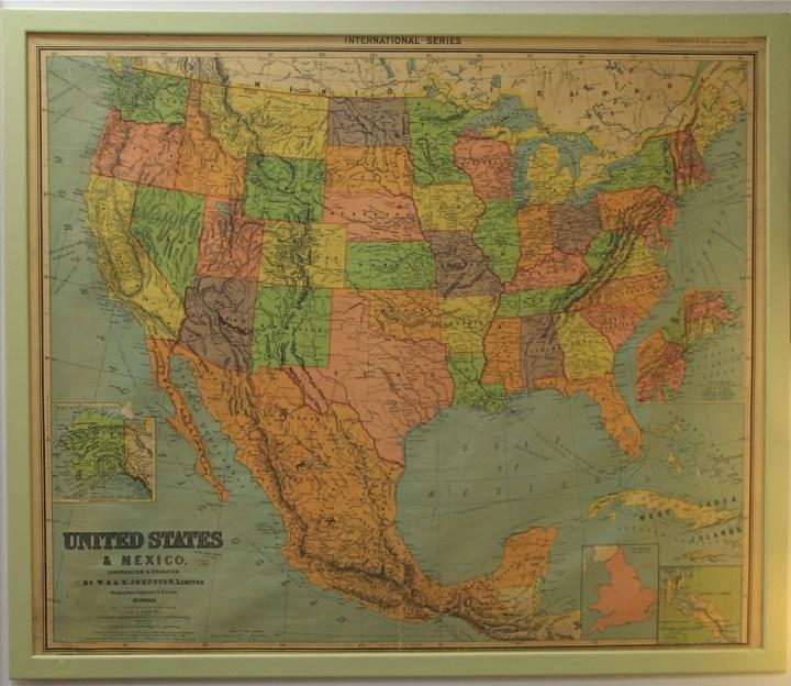 Framed Vintage United States Map Frameswallco - Large framed us map