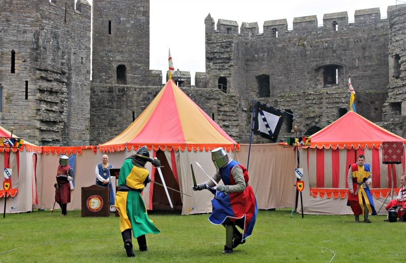 Sword fighting at Sword fighting at Caernarfon Castle, Wales