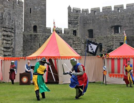 Sword fighting at Sword fighting at Caernarfon Castle, Wales