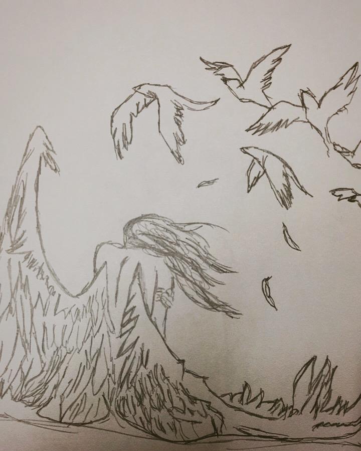Flying Angel Drawing : flying, angel, drawing, Flying, Angel, Foundmyself