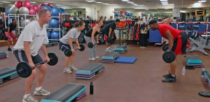 Small group training lifting weights