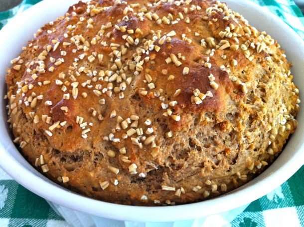 Hearty, wholesome bread has never been so easy, thanks to this yeast-free, no-knead recipe. The finished loaf slices beautifully and tastes great!