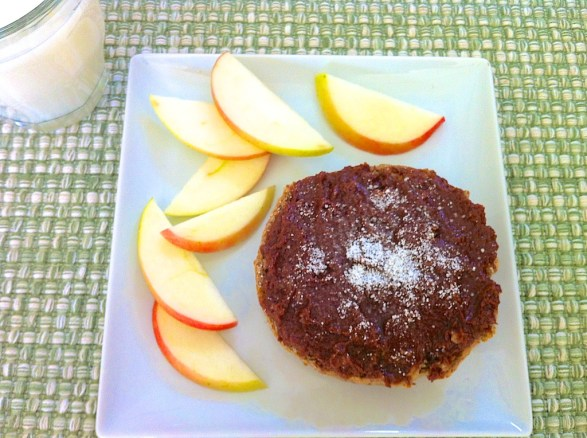 Chocolate Mascarpone Spread on a toasted Ezekiel sprouted grain English muffin