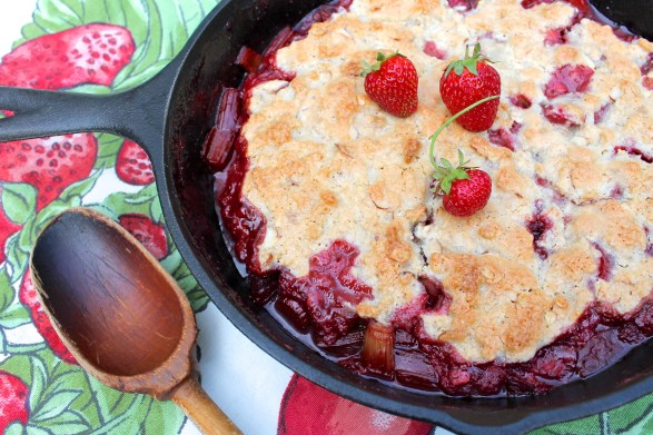 Strawberry Rhubarb Cobbler -- A delicious almond-oat topping makes this a family favorite...gluten-free, too