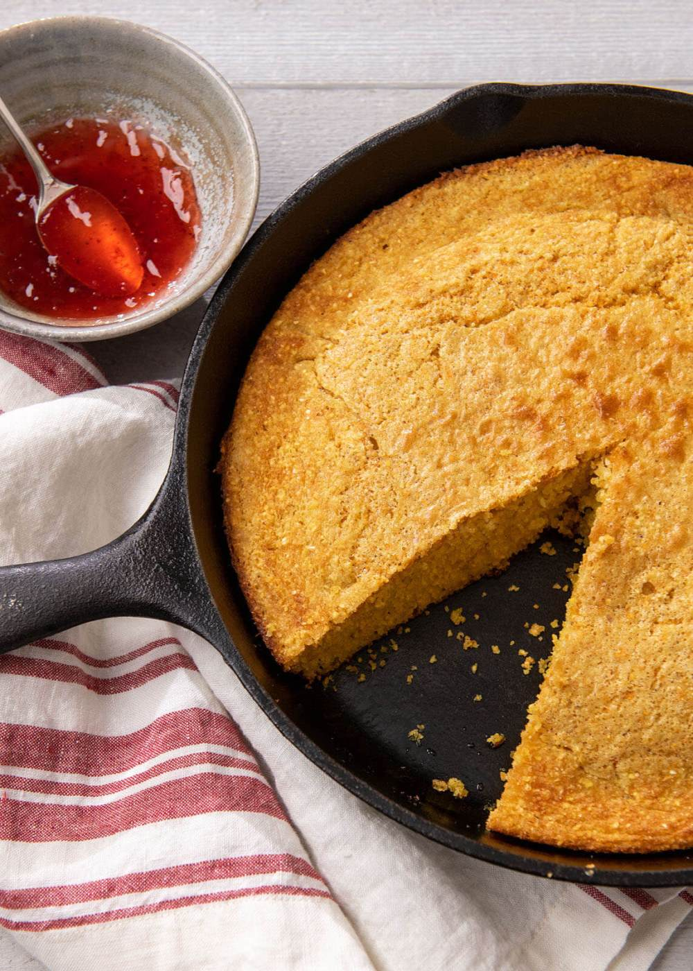 """The magic begins when you pour the simple batter into a hot skillet. This unique recipe isnaturally gluten-free with a dairy-free option and has been a hit with readers (andmy family) for years. And have you noticed how leftover cornbread always seems dry? There's a great tip for """"refreshing""""it, and I also mention how I enjoy the leftovers as an easy, satisfying breakfast."""