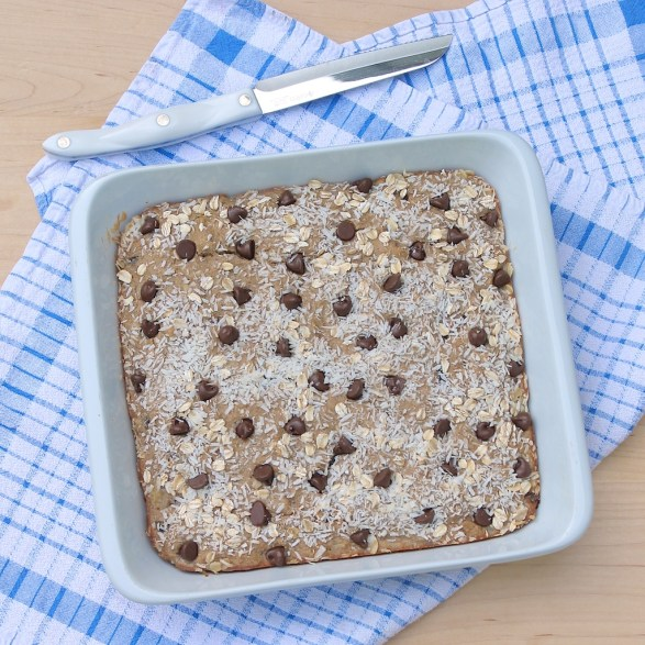Banana Bread Breakfast Bars use oats in place of flour for a healthy, delicious, gluten-free breakfast or snack