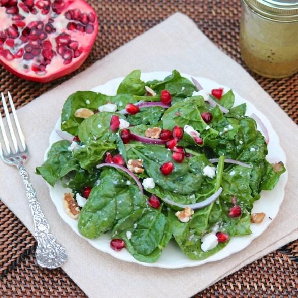 Spinach Pomegranate Salad with Vanilla Vinaigrette