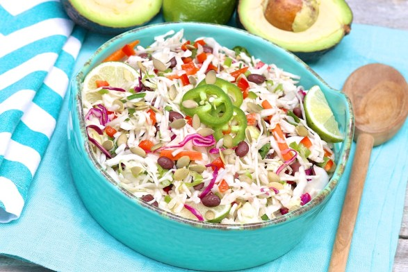 Southwestern Coleslaw Salad -- a healthy, mayo-free salad that's a good source of protein, too