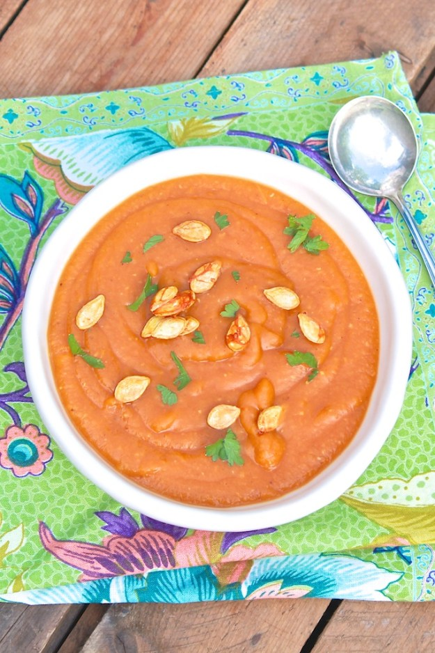 Curried Butternut Squash & Red Lentil Soup - This flexible recipe is nutrient-dense, protein-packed and brimming with warm flavors. Easy to make vegetarian/vegan