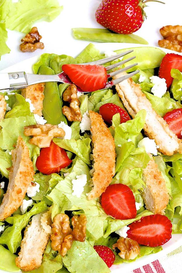 Strawberry Chicken Salad with Candied Walnuts and Goat Cheese