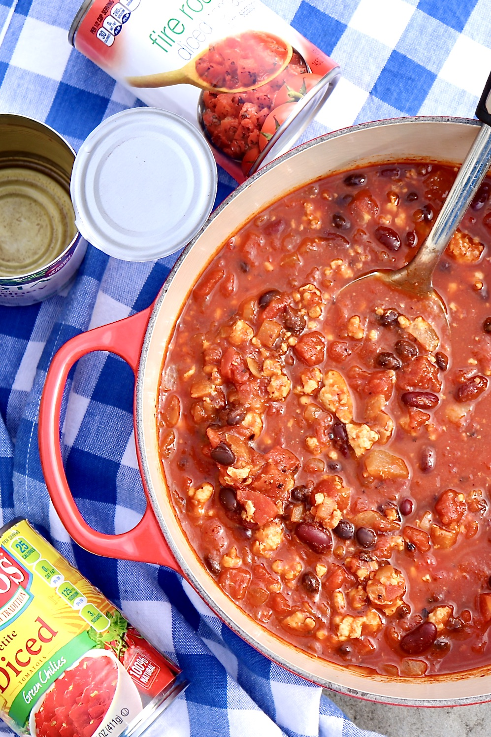 A great bowl of chili is just minutes away thanks to a handful of economical pantry ingredients. Top with a simple sprinkle of cheese or load it up with chopped avocado, crushed tortilla chips, minced onions, etc.