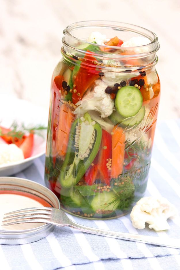 No canner or hot water bath needed for these quick and easy refrigerator pickled vegetables. The flexible recipe will also extend the life of fresh produce or simply make good use of random odds and ends in your produce drawer!