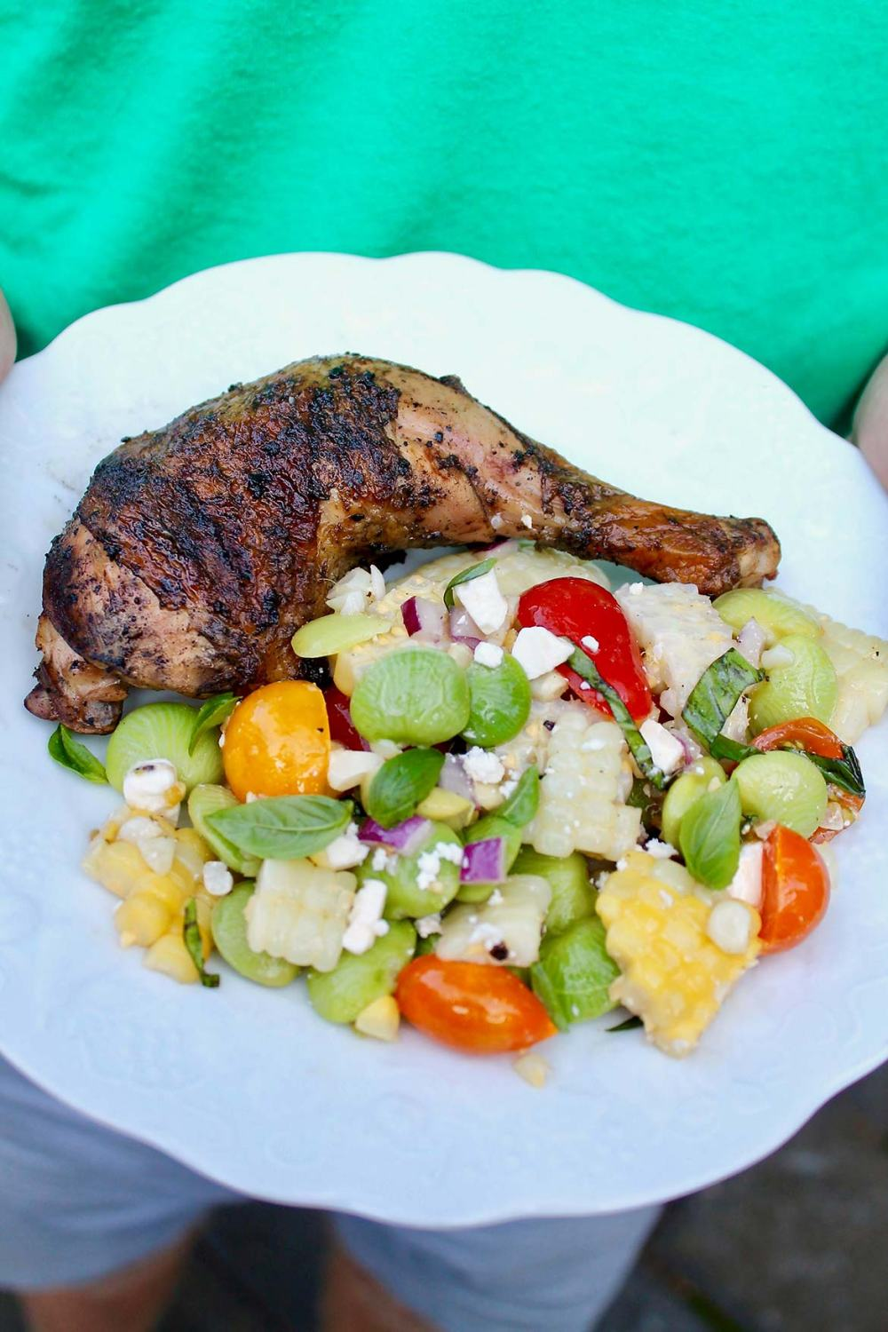 Cornell Chicken -- Reminiscent of the classic roadside barbecue, advance prep and tender, juicy meat make this chicken dinner a real winner. For those who enjoy, a favorite sauce could be served on the side.