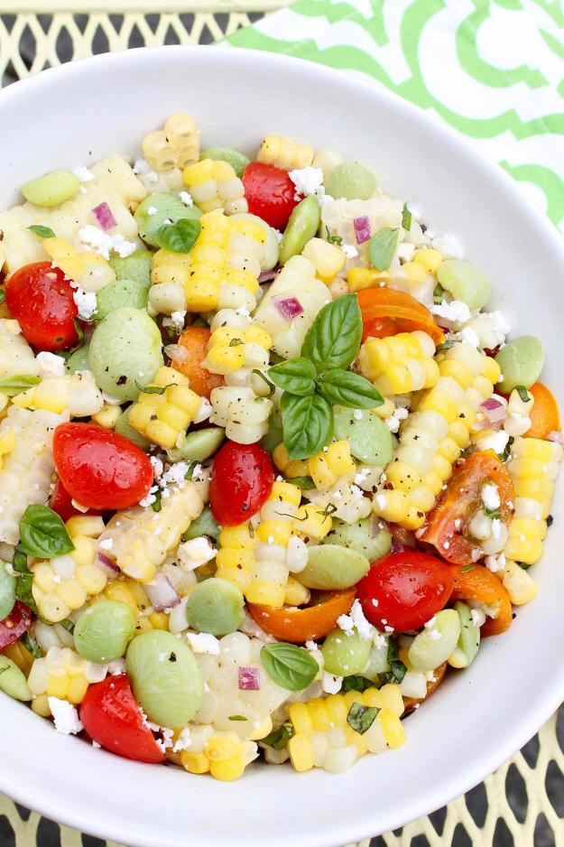 "Succotash Salad is fresh, simple summer eating at its best.  The simplicity of the ""dressing""—really just a drizzle of olive oil and a squeeze of lemon—allows the flavors of the seasonal produce to shine.  Leftovers make a great lunch!"