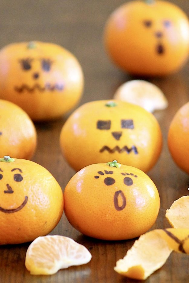 Clementine Jack-o'-lanterns – These healthy snacks make a fun project for children, whether at home or school parties, and are a welcome lunchbox surprise. There's a fun story behind them (plus an important tip for making the ink stick), and because every good celebration can benefit from some themed trivia, I've included some Halloween fun facts to use as conversation starters at holiday parties and around the dinner table.