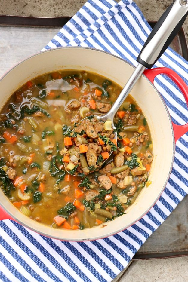 Andouille, Lentil & Vegetable Stew – The dump-and-cook approach makes this healthy and hearty soup extra easy to prepare - and the flavor might just make it a family favorite! Easily adapted forvegan diets, too.