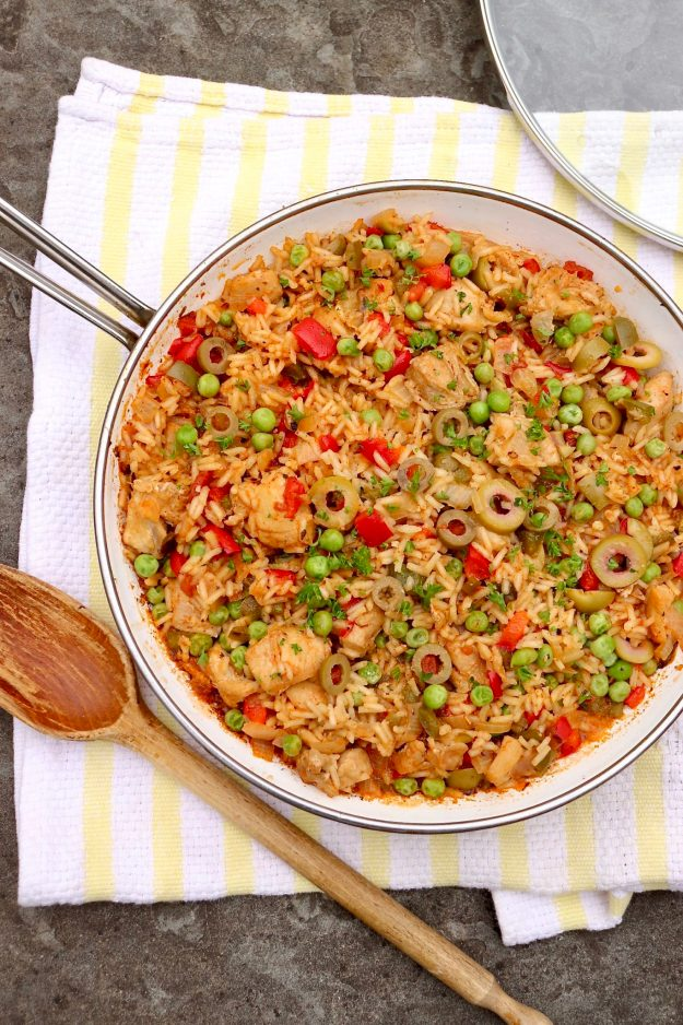 One Pan Spanish-Style Chicken & Rice-This all-in-one meal is a weeknight favorite that's loaded with filling protein, satisfying carbs, healthy vegetables and lots of great flavor.