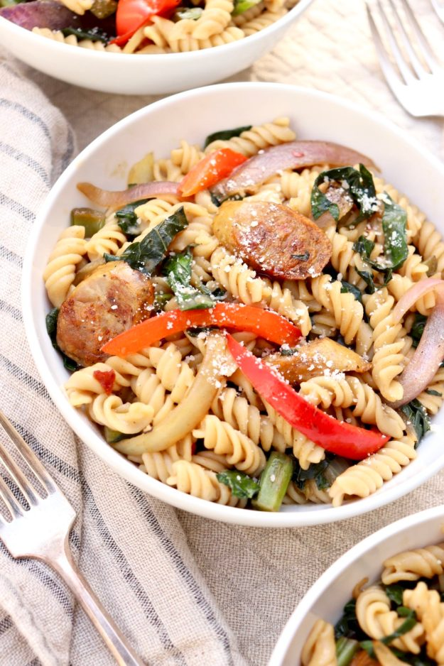 Veggie-Loaded Pasta with Sausage - anarray of colorful vegetables meld easily into the comfortand flavor of a satisfying pasta dish.