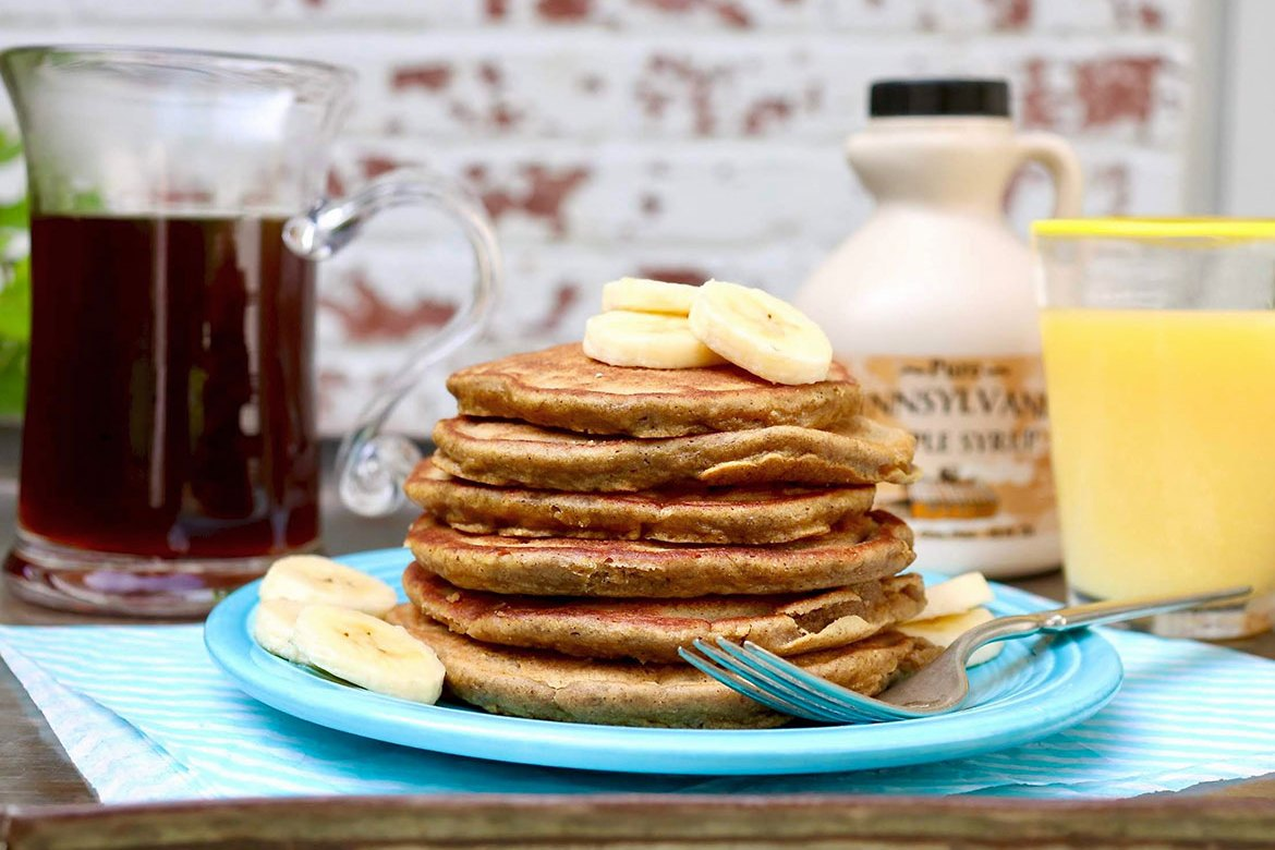 Banana Bread Pancakes or Waffles-anaturally gluten-free version of the much-loved quick bread, these light and fluffy pancakes incorporate heart-healthy oat flour or blended oats.