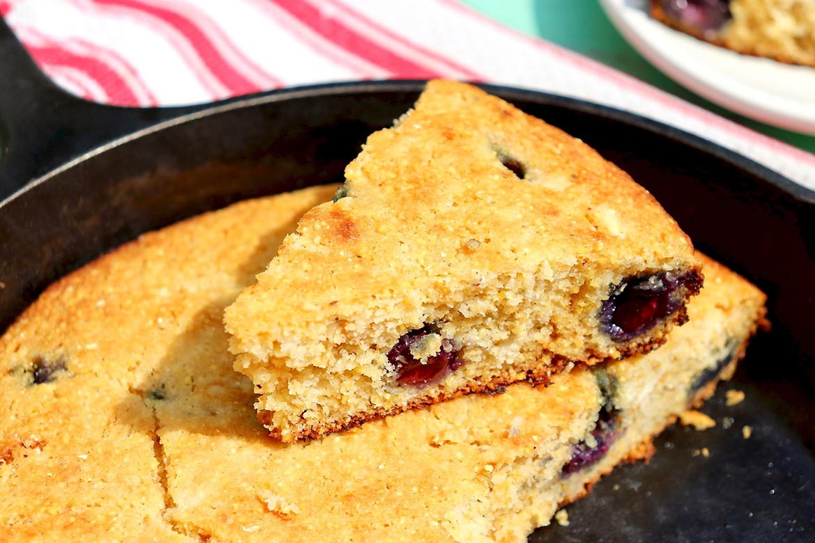 Blueberry Lemon Cornbread-This delightful twist on the usual cornbread comes together quickly with pantry and freezer ingredients. An easy tip ensures leftovers are never dry!