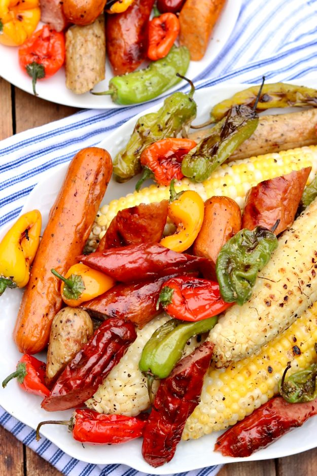 Easy Grilled Sausage, Pepper & Corn Dinner-A fun, family-style meal that captures the essence of summer and can be customized to taste. It's quick, easy and perfect for busy weeknights and casual entertaining.