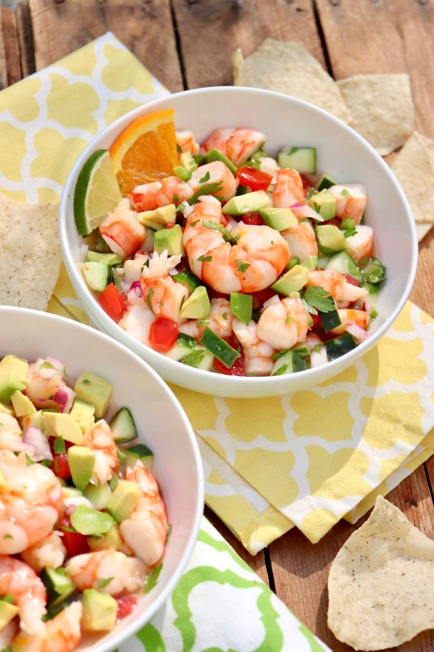 Cheater Shrimp Ceviche (no raw seafood!) - Healthy, refreshing and perfect as an appetizer or light meal, this easy-to-make recipe uses a blend of citrus to hit all the right flavor notes
