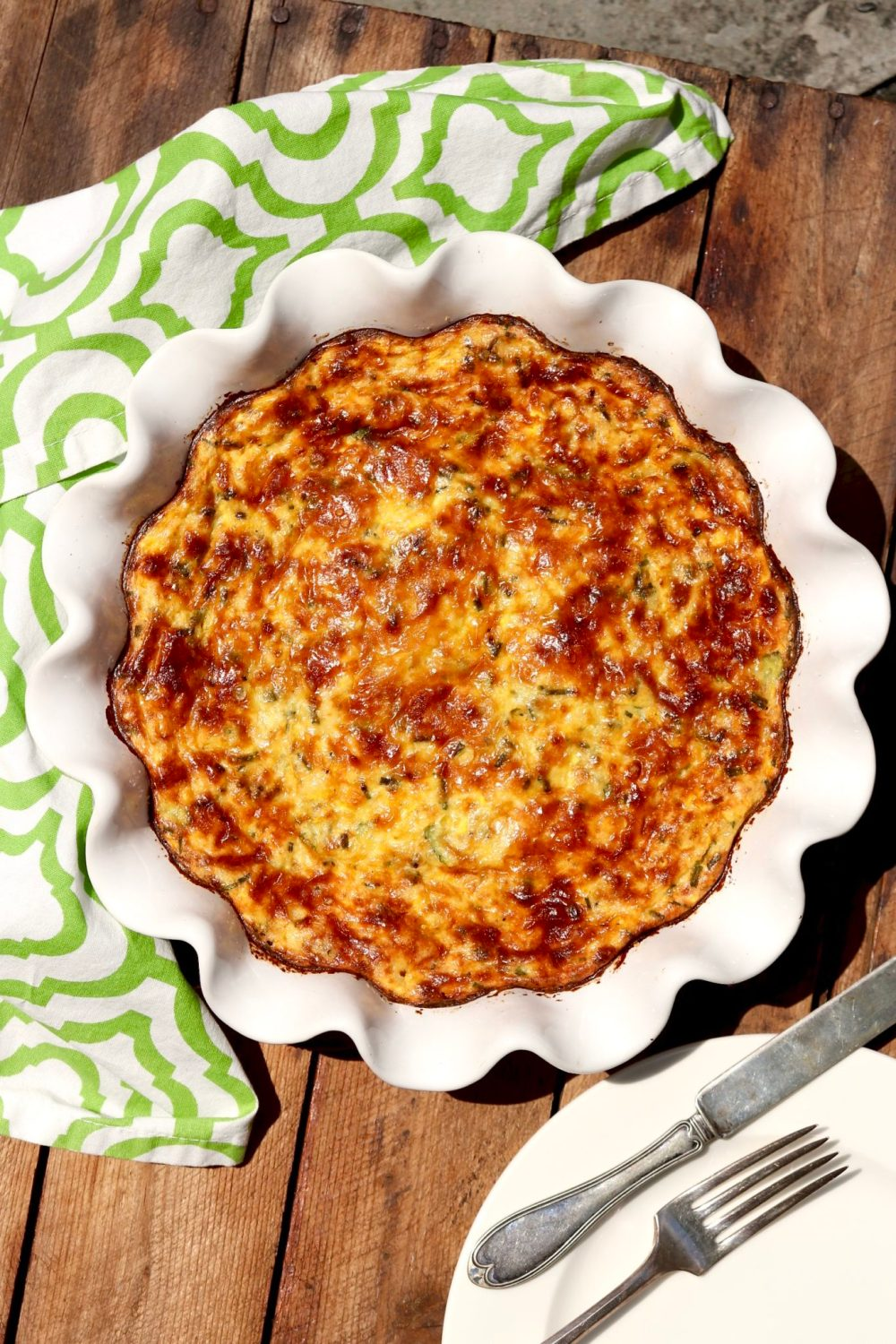 CRUSTLESS ZUCCHINI PIE - Similar to a quiche, loaded with veggies, and perfect as a satisfying meatless meal or side to your favorite protein. (Leftovers improve with age!)