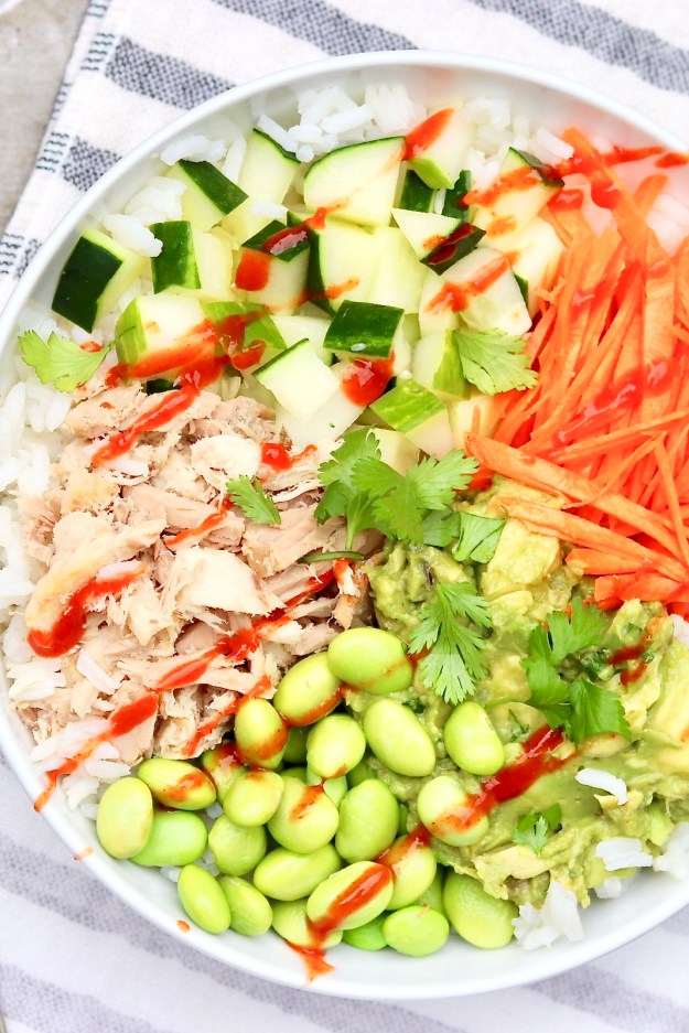 BUDGET SUSHI BOWLS are easy to make with canned tuna and taste so good. Perfect for a speedy weeknight meal or packable lunch!