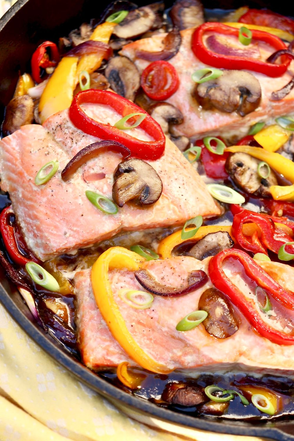 ONE PAN TERIYAKI SALMON & VEGETABLES -A shortcut ingredient adds ease and loads of flavor to this heart-healthy, veggie-rich dinner that cooks in a single pan.
