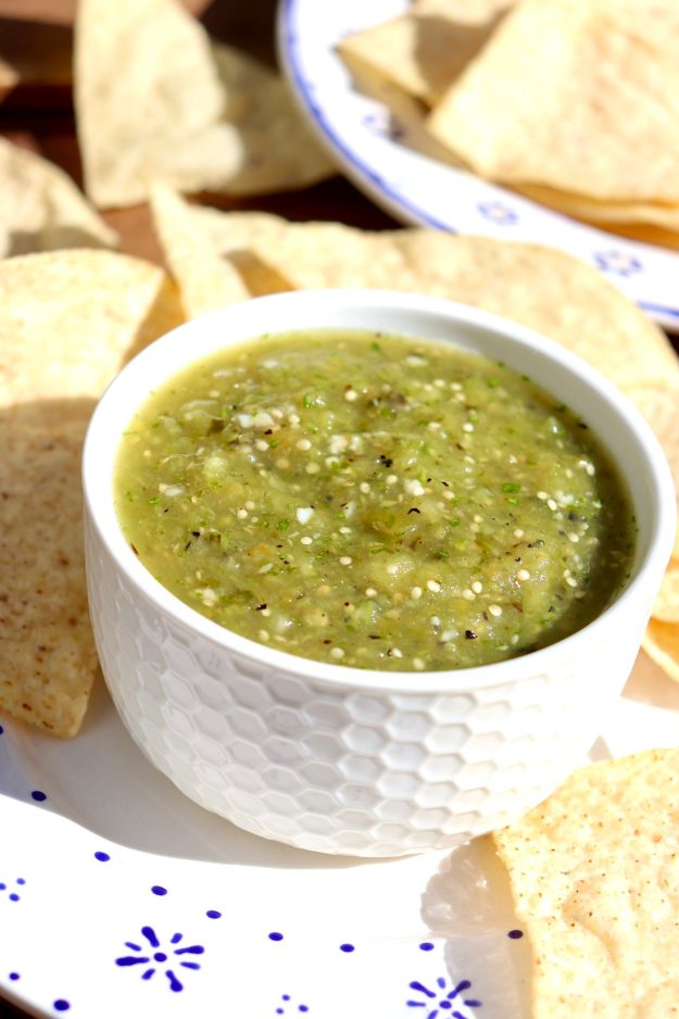 A quick broil brings out the flavor of tomatillos in this easy salsa that can be used just like its red counterpart. Think grilled meats, eggs, burgers, grain bowls, and anything Tex-Mex!