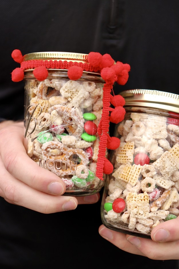 Sweet, salty, and delightfully crunchy, a big batch of this festive snack mix takes about 10 minutes to prepare and is perfect for holiday gift giving. Tailor the recipe to any occasion by simply varying the color of the M&Ms!