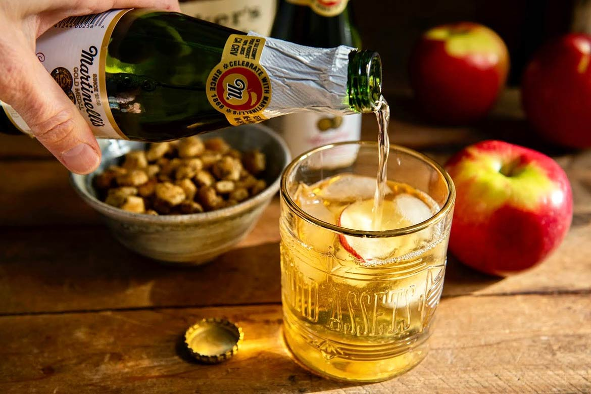 Warm notes of Bourbon complement the sweetness of apples in this lightly effervescent cocktail that takes a mere minute to make. Prefer a mocktail? Just skip the Bourbon!