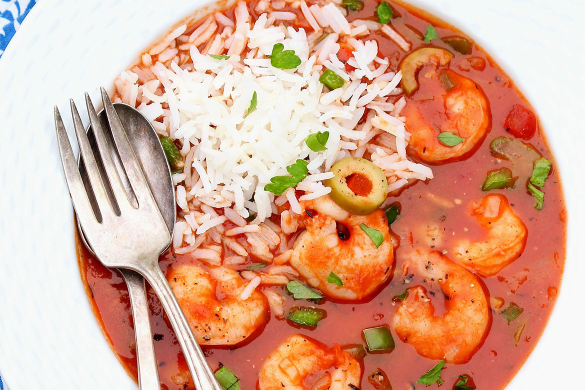 Easy to make but company-worthy, a spoonful of rice is all you need to complete the meal. You can even prepare it the day before and add the shrimp just before serving.