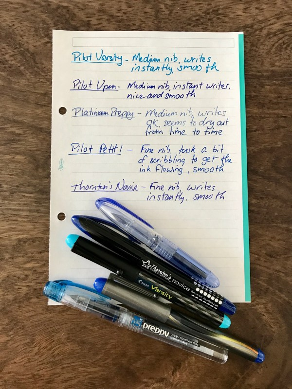 disposable fountain pen writing comparison