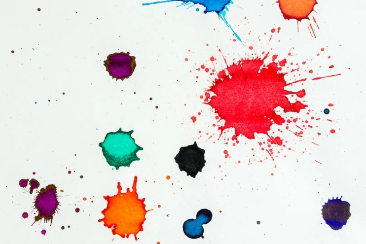 fountain pen ink color splats sheen