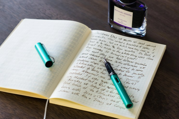 Write in a journal with a lamy fountain pen