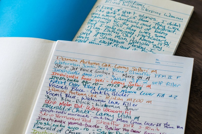 using a fountain pen to write in different journals