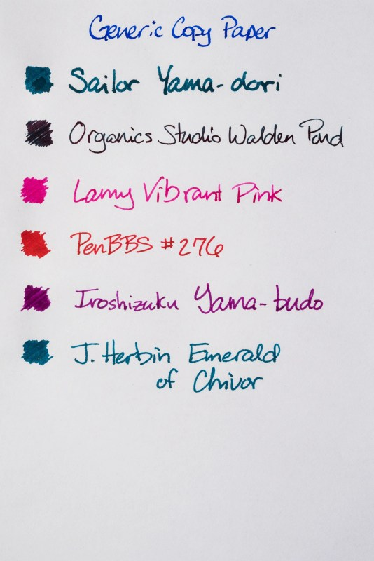 How does paper affect fountain pen ink sheen copy paper